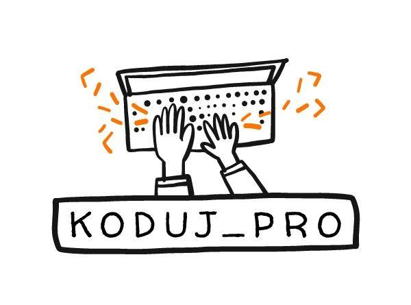 Zdjęcie przedstawia logo projektu Koduj_Pro. Na środku białego tła umieszczona jest rysunkowa grafika. Przedstawia dwie dłonie nad klawiaturą laptopa. Poniżej w czarnej prostokątnej ramce widoczny jest napis z wielkich liter: koduj pro.